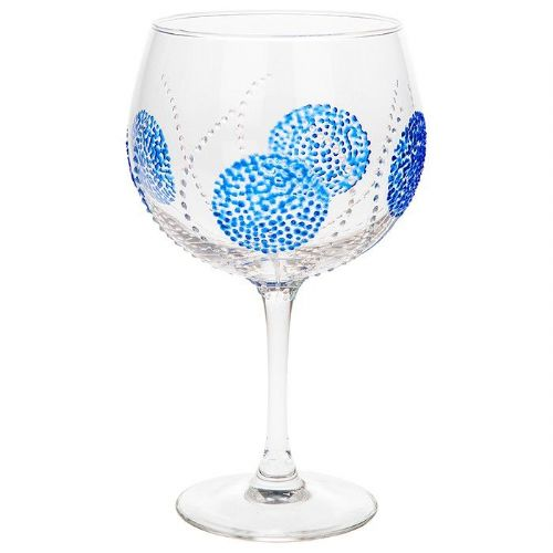 Sunny by Sue Blue Burst Gin Glass